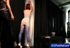 Pantyhose slave spanked