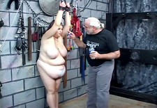 dude whips bondaged bdsm fattie&s huge tits and belly
