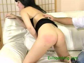 See this brutal slut getting spanked