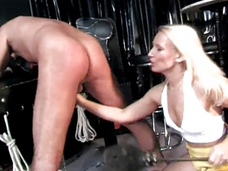 Cfnm mistress spanks &; milks cock