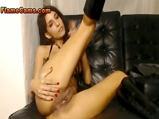 dream girl in boots spanks and spreads