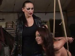 Horrid mistress punishing girl