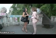 bare ass babe flogged outdoor by couple