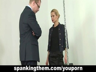 lesson of obedience for blonde lady