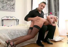 take a look at this stunning blonde chick ivana sugar that stays in black fishnet stockings and high heels getting great round ass spanked by strong hands of dude.