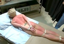 slutty blonde with big boobs came to kinky doctors and was tied up and whipped well