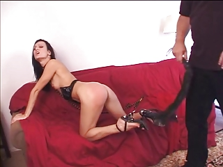 Naughty girl sucks and gets spanked