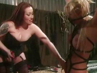 Busty lezdom bondage whipping