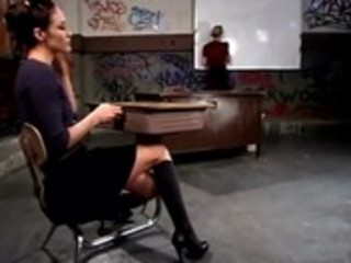 Naughty schoolgirl spanked by lezdom teacher