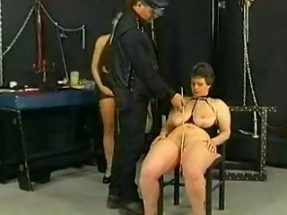 Master hits and spanks slave on her ass tits and pussy
