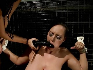 Mistress punishing busty slavegirl