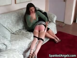 Naughty brunette babe gets ass spanked part2