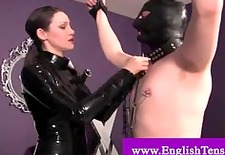 chained slave gets a whipping