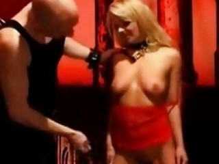 Gorgeous blondie submissive chick whipped by her master