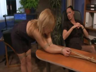 Lezdom gets foot worship before spanking her subject