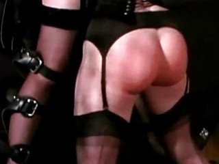2 slave girls tied to wall spanked with stick whipped by mis