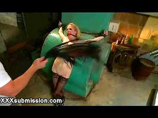 chained busty blonde flogged in basement