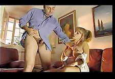 Blonde pregnant babe gives handjob