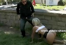 sexy whore tied and masked is banged in public spanking sex under