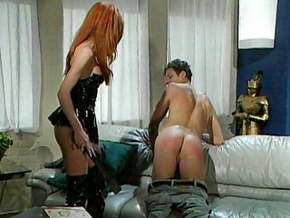 redhead latex mistress spanking slave hard