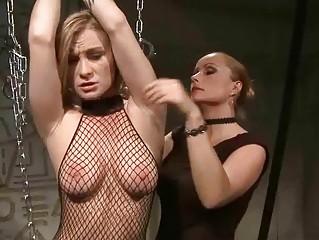Mistress Katy Parker punishing busty girl