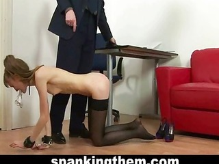 spanking punishment for skinny secretary
