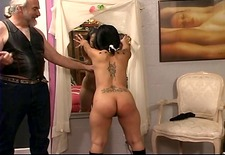 Ponytailed dude whips roped latina&s tattooed ass