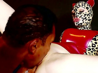 white horny babe in mask latex lucy enjoys getting a big black cock ramming her twat
