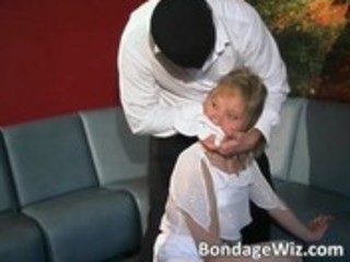 Tied blonde gets ass spanked and tits