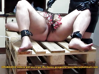 Pins &; penis spanking with a rubber ruler