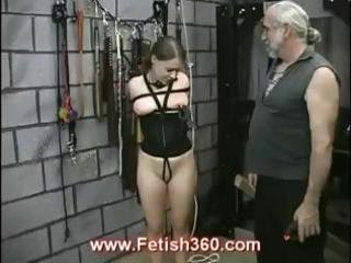 Brunette bitch gets tied up and gets whipped and her nipples tortured