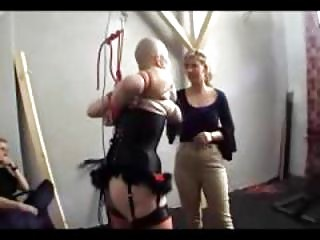 Skinhead Girl In Lingerie Breast Bondage Tortured Whipped By Master And Mistress