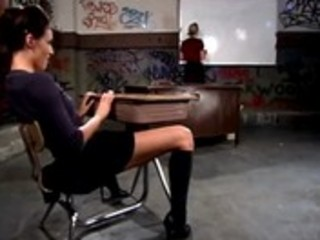 Lezdom teacher spanks naughty schoolgirl
