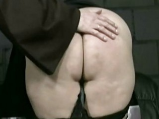 Master priest pulls skirt up and panties down and spanks nau