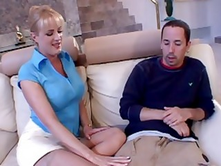 mom in thigh highs sucks cock on couch