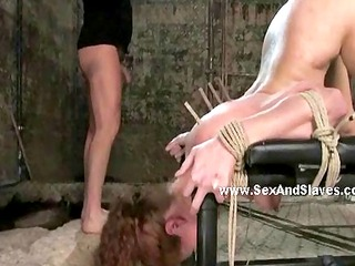 fat dirty master spanking slave tied