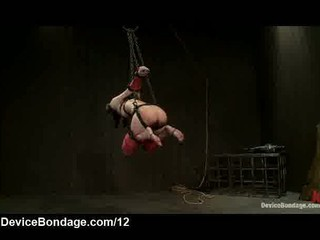 Tied with straps babe gets flogged and toyed