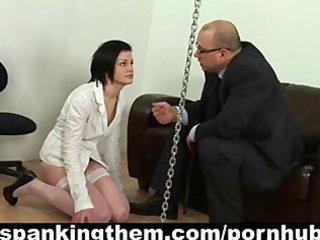 Sexy lazy secretary spanked by her boss