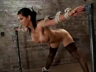 Busty babe bound flogged and vibed