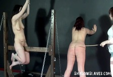 wooden slavery and palm flogging of 2 caned lesbos