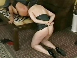 Horny slave got her wet pussy hit by master with a whip and