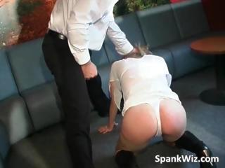 Amateur blonde slut gets spanked by two part1