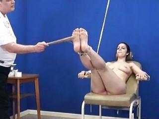 Amateur feet whipping and foot fetish of bondage