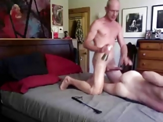 Tall big cock daddy spanks and breeds twink