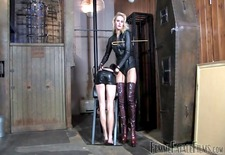 Mistress canes her gimp slave