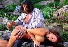 Big tits brunette spanked by big hand dude