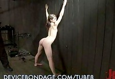 petite sub gets bound up in submission. caning, chains, leather