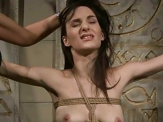 Horrid mistress punishing gorgeous slavegirl