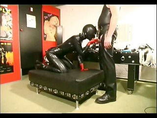 horny slave girl loving a strap on