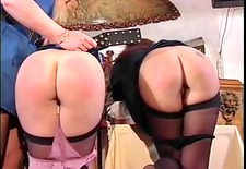 2 cute asses getting spanked
